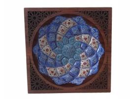بشقاب میناکاری 16 سانتی با قاب چوبی اصیل