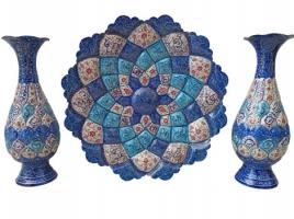 ست هدیه کوزه و بشقاب مینا کاری اصفهان