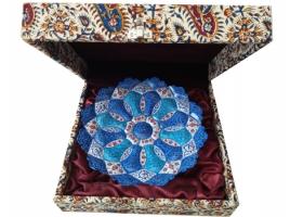 بشقاب هدیه میناکاری با جعبه قلمکاری سنتی